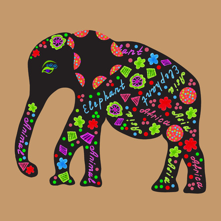 pachyderm: Elephant painted markers, bright vector illustration   for design fabric dishes, clothes, and other purposes