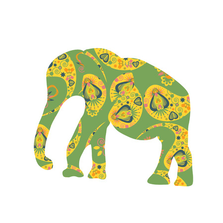 Elephant silhouette for design fabrics, T-shirts, dishes and other purposes   Illustration