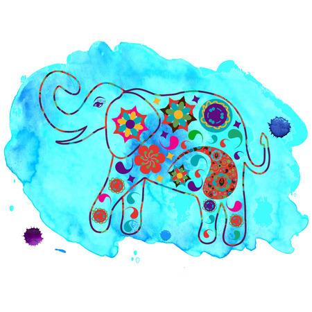 Elefant in blau Aquarell Hintergrund für Design-Gewebe, T-shirts, Geschirr und andere Zwecke Standard-Bild - 32020103
