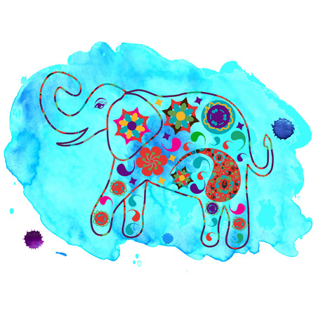 Elephant in blue watercolour backdrop for design fabrics, T-shirts, dishes and other purposes   Illustration