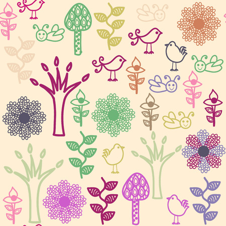 Floral seamless pattern with birds  and seamless pattern in swatch menu, vector image Illustration