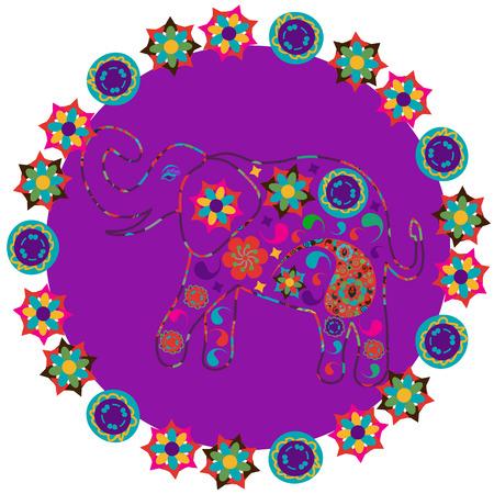 Elefant in hellen lila Hintergrund für Designgewebe, T-Shirts, Geschirr und andere Zwecke, vector Standard-Bild - 32593508