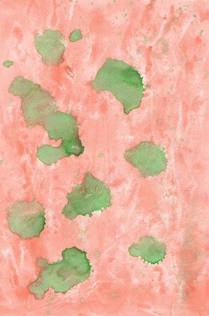 canva: Background painted with watercolors,  orange gentle backdrop with green blots, cute colored image