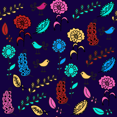 Birds seamless pattern and seamless pattern in swatch menu, vector image for design apparel,  fabrics and other purposes Vector