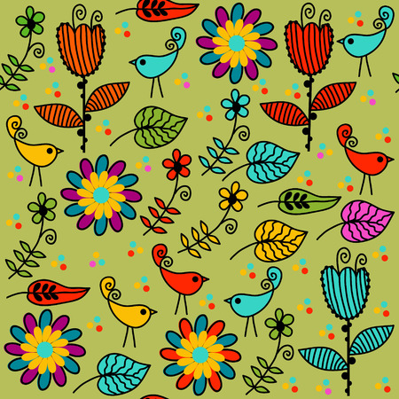 Floral seamless pattern and seamless pattern in swatch menu, vector Vector