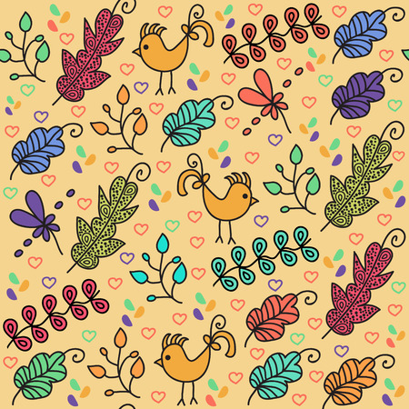 textura: Colorful floral seamless pattern with cute birds and seamless pattern Illustration