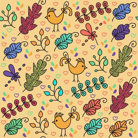 textura: Colorful motivo floreale senza soluzione di continuità con gli uccelli carino e senza soluzione di modello