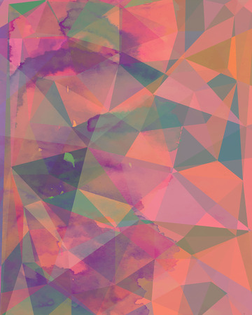 Abstract artistic colorful  geometric polygonal background made using aguarelle  and blending modes