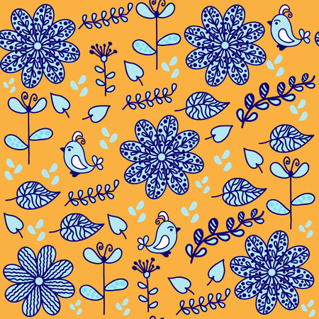 textura: Bright  floral seamless pattern with cute birds and seamless pattern in swatch menu, vector. Cute background or cover in blue, yellow, white colors