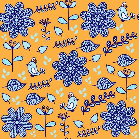 Brillante motivo floreale senza soluzione di continuità con gli uccelli carini e seamless in menù swatch, vettore. Sfondo carino o copertina in blu, giallo, i colori bianco