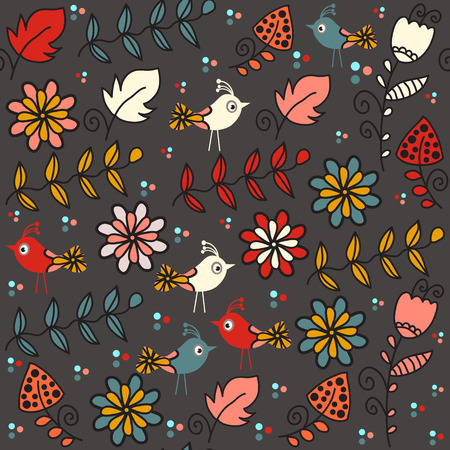 textura: Kids seamless pattern with funny birds and seamless pattern in swatch menu, vector image. Colorful cute background for web and print. Charming  floral illustration for design. Illustration