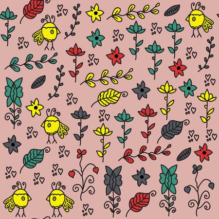 textura: Bambini seamless con immagine vettoriale uccelli divertenti e seamless in menu di campione,. Colorato sfondo carino per il web e la stampa. Animali Charming illustrazione per la progettazione.