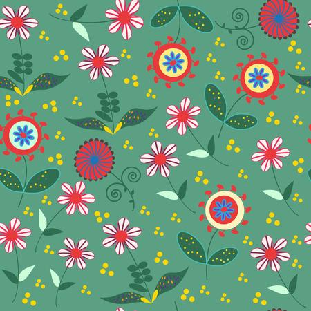 Abstract floral seamless con simpatici fiori colorati e seamless in menù swatch, illustrazione vettoriale Vettoriali