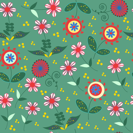 textura: Abstract floral seamless pattern with cute colorful flowers  and seamless pattern in swatch menu, vector illustration