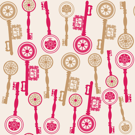 old keys: Old keys seamless pattern and seamless pattern in swatch menu, vector illustration. Vintage backdrop. Colorful pattern