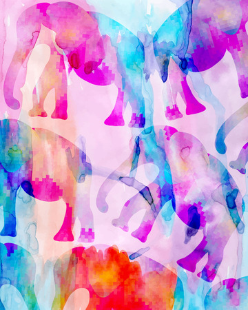 Abstract colorful watercolor and digital painting mosaic elephants background photo