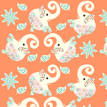 Cute elephants seamless pattern and seamless pattern in swatch menu, vector picture. Retro tileable texture for different design
