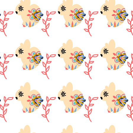 Rabbits seamless pattern and seamless pattern in swatch menu, vector image. Cute texture in soft colors for web and print use Vector