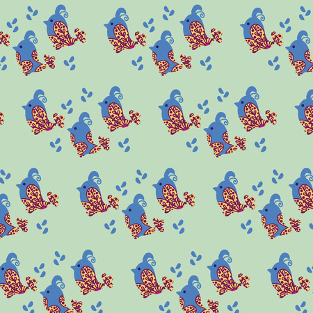 swatch: Birds simple seamless pattern and seamless pattern in swatch menu, vector image Illustration