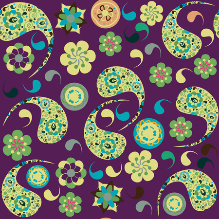 Colorful Paisley seamless pattern and seamless pattern in swatch menu. Cute vector image. Bright background for web and print use Vector