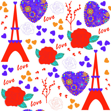 Romantic seamless pattern and seamless pattern in swatch menu, vector illustration Vector