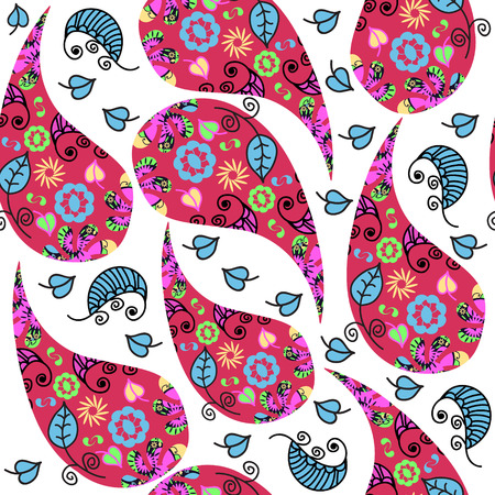 Colored  Paisley seamless pattern and seamless pattern in swatch menu, vector illustration. Multicolor tile texture or cute background Vector