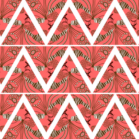 graphically: Geometric floral colorful triangle repeating cute background, vector illustration