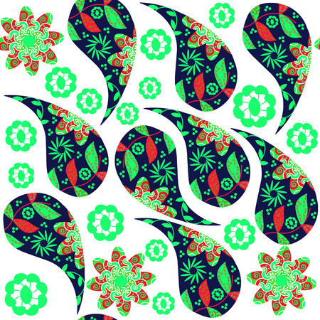 Colorful Paisley seamless pattern in red, green,  bluecolors and seamless pattern in swatch menu, vector illustration. Multicolor background Vector