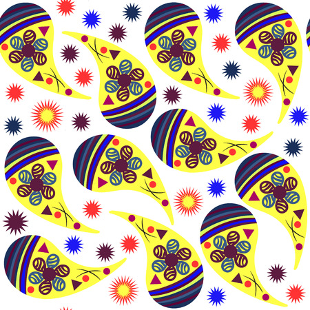 Simple Paisley seamless pattern in yellow, blue, bordo, orange  colors and seamless pattern in swatch menu, vector illustration Vector