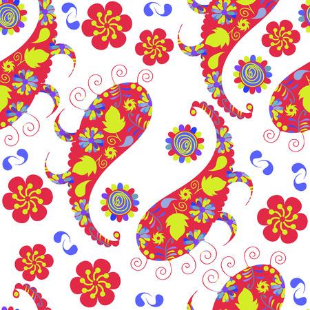 zypresse: Colorful Paisley seamless pattern und nahtlose Muster in Swatch-Men�, Vektor-Illustration Illustration