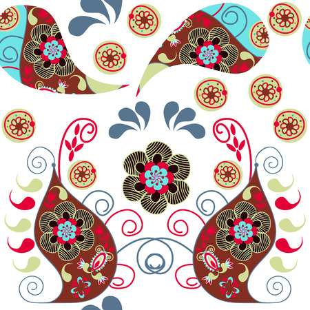 Paisley colorful  odd seamless pattern and seamless pattern in swatch menu, vector illustration. Cute texture