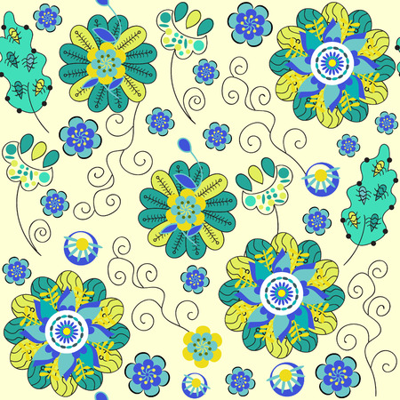 Fantasy abstract floral seamless pattern and seamless pattern in swatch menu, vector illustration