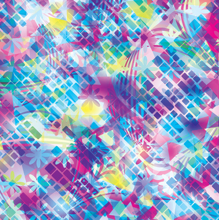 transparence: Bright floral and geometric abstract background Stock Photo