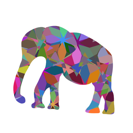 large group of object: Colorful abstract modern print with elephants silhouette, vector illustration Illustration
