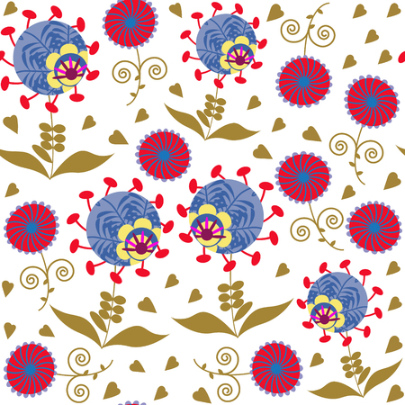 odd: Colorful abstract seamless pattern with odd flowers and seamless pattern in swatch menu, vector