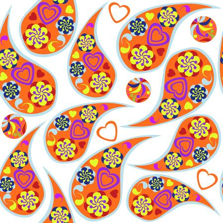 paisley seamless pattern: Cute Paisley seamless pattern and seamless pattern in  swatch menu, vector illustration Illustration