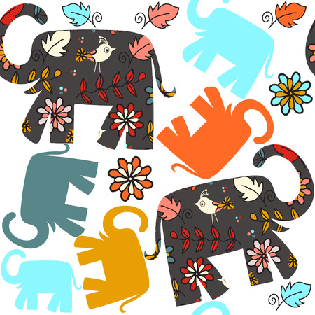 Cute seamless pattern with elephants and seamless pattern in swatch menu, vector illustration
