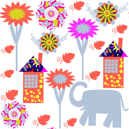thai motifs: Seamless pattern with elephants and seamless pattern in swatch menu, vector illustration. Cute texture for design