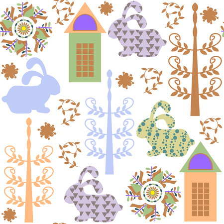Seamless kids pattern with rabbits  and seamless pattern in swatch menu, vector illustration. Cute texture for different design Illustration
