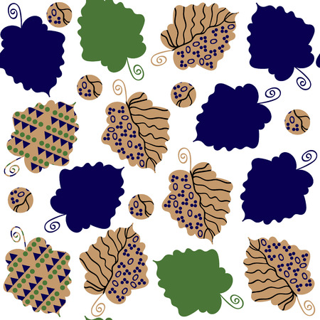 odd: Odd seamless pattern  with creative leaves and seamless pattern in swatch menu, vector illustration. Cute texture for different design. Beautiful elegance background