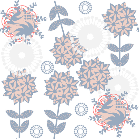 odd: Cute retro gentle floral  seamless pattern with odd flowers  and  seamless pattern in swatch menu, vector image Illustration