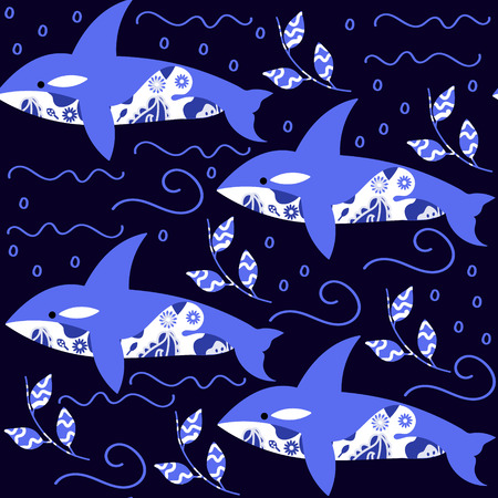 grampus: Cartoon killer whale seamless pattern  and seamless pattern in swatch menu, vector image Illustration