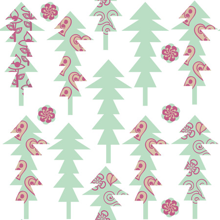 odd: Cute fantasy odd spruce trees seamless pattern and seamless pattern in swatch menu. Texture for design