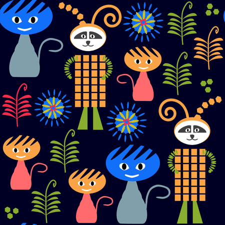 fictional character: Monsters dark seamless pattern and seamless pattern in swatch menu, vector image