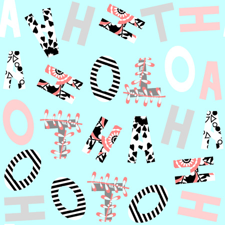 Letters seamless pattern and seamless pattern in swatch menu