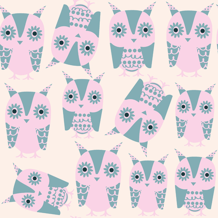 Gentle owls seamless pattern and seamless pattern in swatch menu