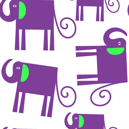 Elephants seamless pattern and seamless pattern in swatch menu Illustration