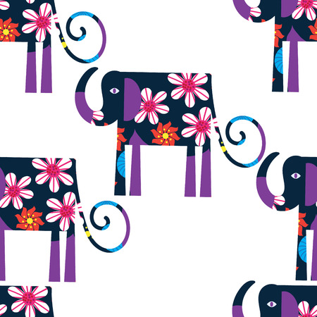 Elephant seamless pattern and seamless pattern in swatch menu