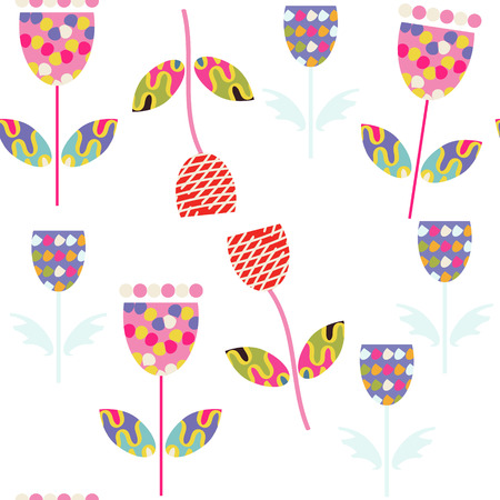 Floral nature fantasy seamless pattern and seamless pattern in swatch menu Illustration