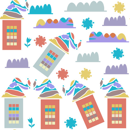 Cute   creative houses seamless pattern and seamless pattern in swatch menu